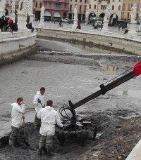 Riavvio delle operazioni di prosciugamento della Canaletta di Prato della Valle