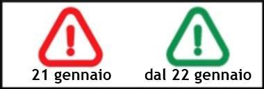 Segnale passaggio ROSSO VERDE 21-22 gennaio inquinamento limitazioni ant 380